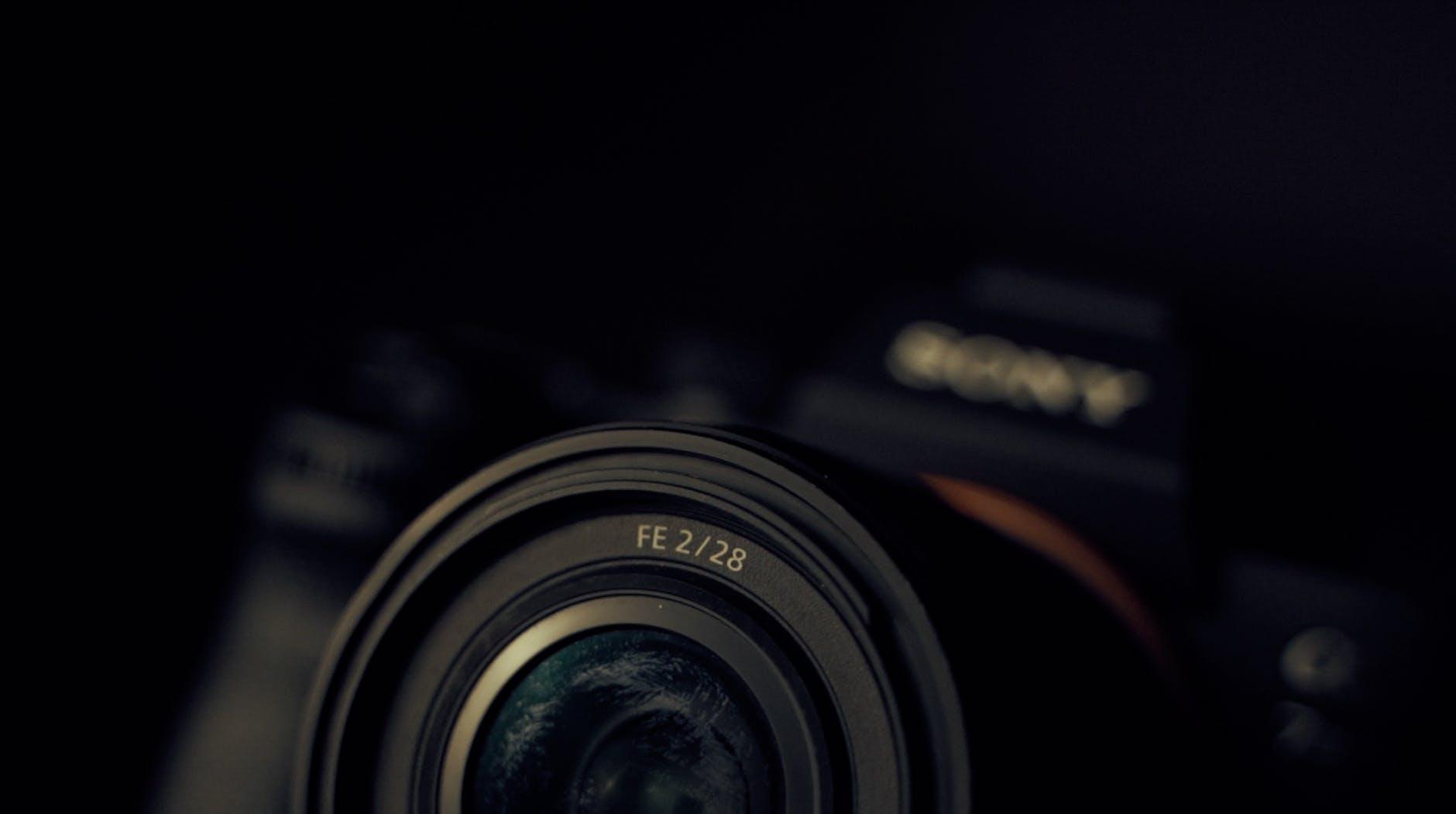 modern photo camera lens in studio